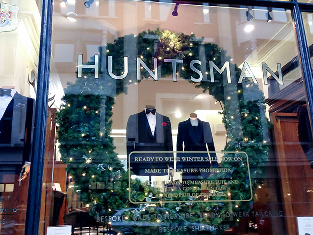 The Huntsman window display on Savile Row in London. Photo by alphacityguides.