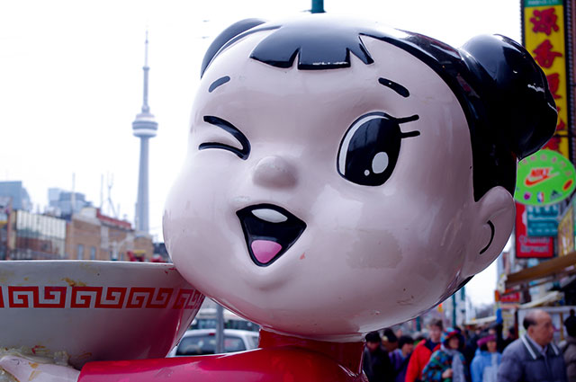 Noodle girl in Toronto's Chinatown.