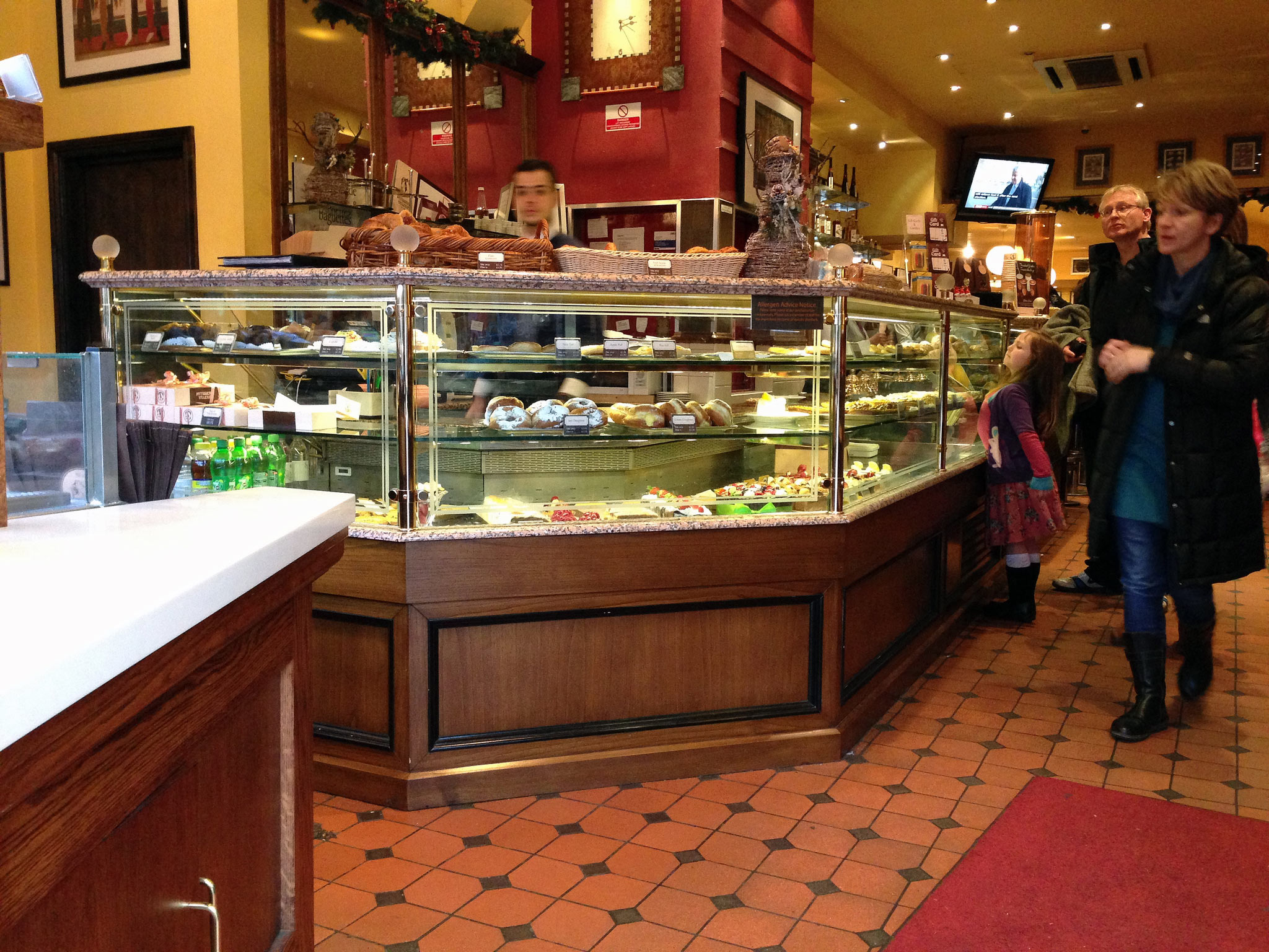 Pastry counter at Patisserie Valerie in London. Photo by alphacityguides.