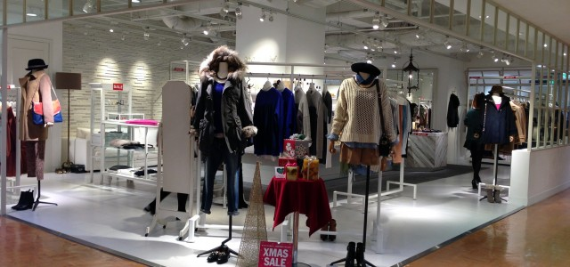 Womenswear display at Parco in Tokyo. Photo by alphacityguides.