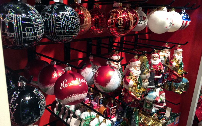 Christmas decorations at Columbus Circle Holiday Market in New York. Photo by alphacityguides.