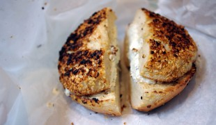 Everything bagel toasted with cream cheese at Ess-A-Bagel in New York. Photo by alphacityguides.