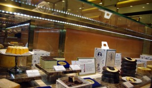Baumkuchen display at Holländische Kakao-Stube in Isetan in Tokyo. Photo by alphacityguides.