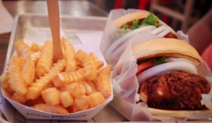 Shroom burgers (deep fried cheese and portabello pattie) & fries at Shake Shack, New York. Photo by alphacityguides.