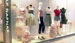 Fashion display at NAF NAF in Paris. Photo by alphacityguides.