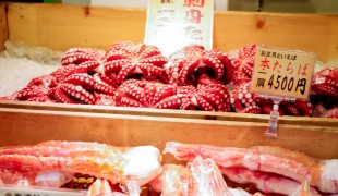 octopus and crab legs at Tsukiji Market in Tokyo. Photo by alphacityguides.