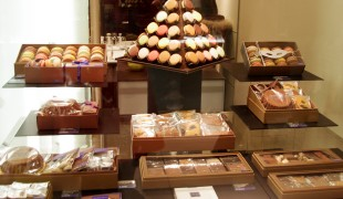 Chocolate and pastry display at Jean-paul Hévin. Photo by alphacityguides.