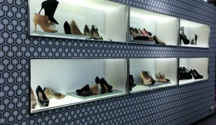 Shoe display inside Kurt Geiger in London. Photo by alphacityguides.