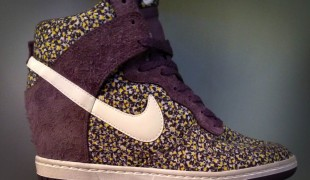 Nike Dunk Sky High Liberty print wedge heel sneaker at Offspring in London. Photo by alphacityguides.