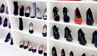 Wall of women's shoes at Brands Temporary Store in London. Photo by alphacityguides.