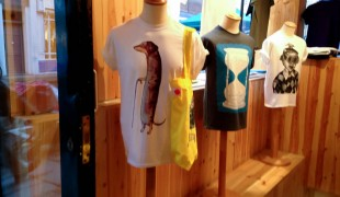 Graphic tshirt display at Super Superficial in London. Photo by alphacityguides.
