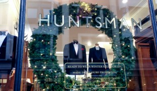 Window display at Huntsman on Savile Row in London. Photo by alphacityguides.