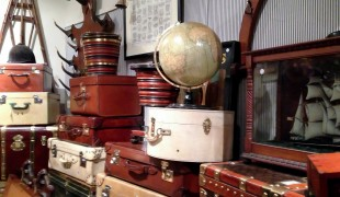 Vintage and antique globes and suitcases at Henry Gregory in London. Photo by alphacityguides.