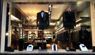 Window display at Kilgour on Savile Row in London. Photo by alphacityguides.