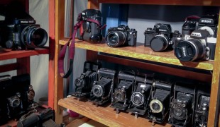 Vintage camera display at the Portobello Market in London. Photo by alphacityguides.