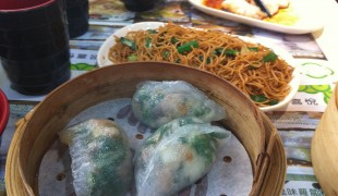 Dumplings and deep fried noodles at Tim Ho Wan in Hong Kong. Photo by alphacityguides.
