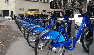 Citi bike rack in New York. Photo by alphacityguides.