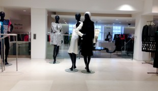 Womenswear display at Fenwick Department store in London. Photo by alphacityguides.