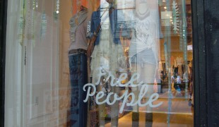 Window at Free People in New York. Photo by alphacityguides.