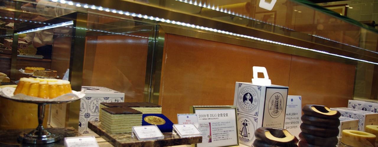 Baumkuchen display at Holländische Kakao-Stube in Isetan in Tokyo. Photo by alphacityguides.