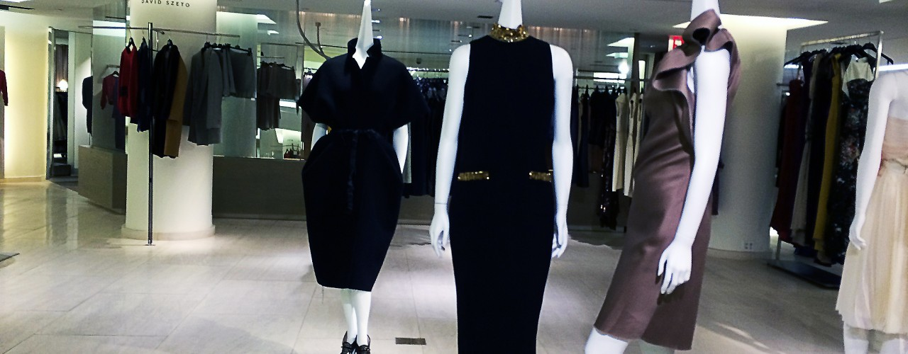 Designer fashion display at Barney's in New York. Photo by alphacityguides.