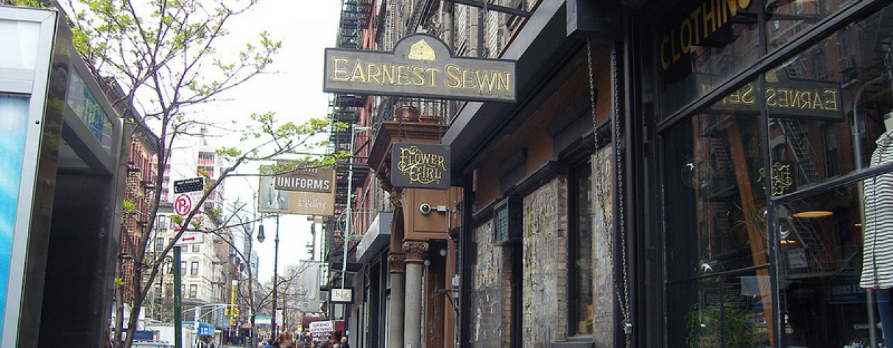 Store front at Earnest Sewn in New York. Photo by alphacityguides.