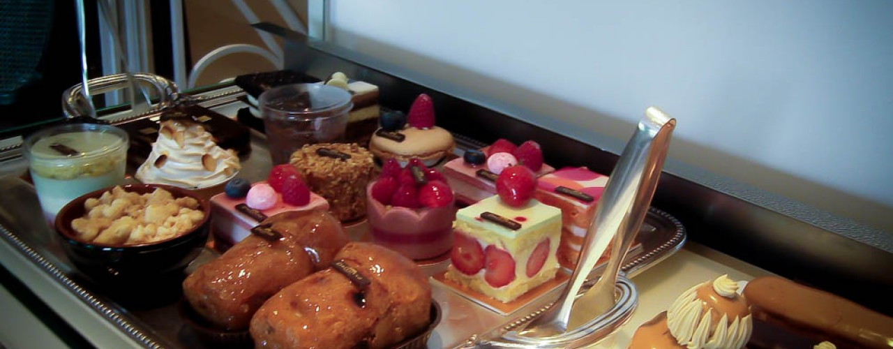 Pastry counter at the Dalloyau tea salon. Photo by alphacityguides