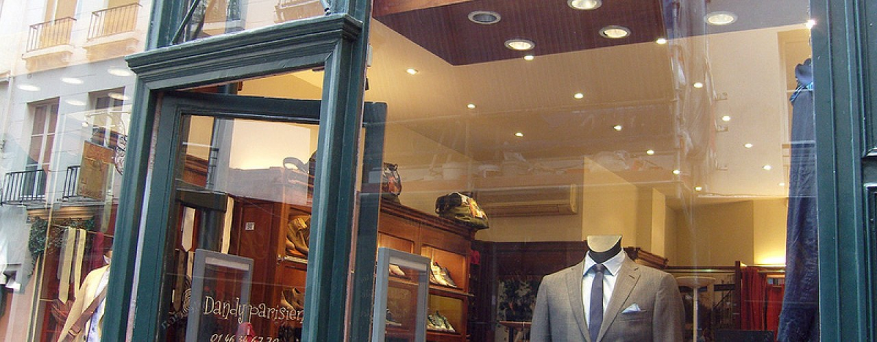 Store front at Dandy Parisien in Paris. Photo by alphacityguides.