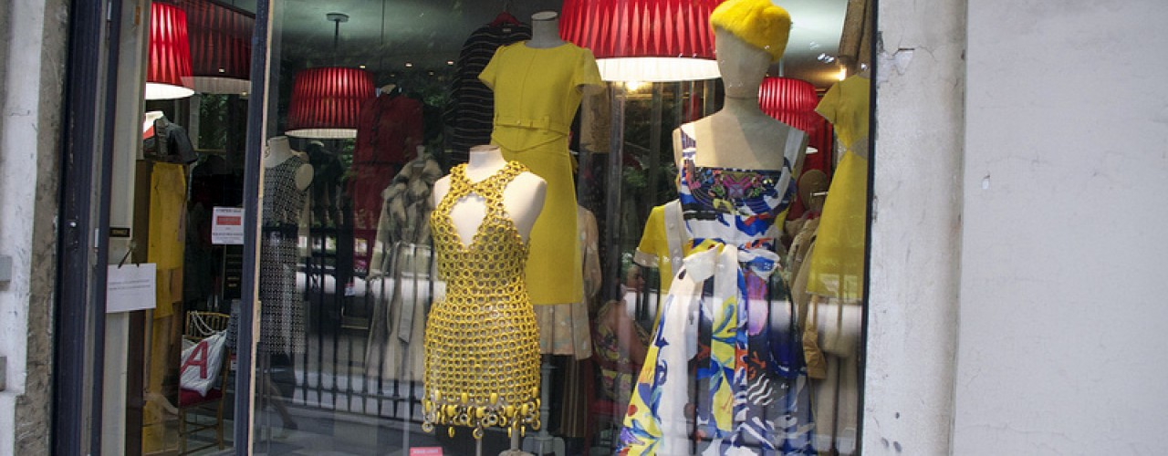 Vintage fashion at Didier Ludot in Paris. Photo by alphacityguides.