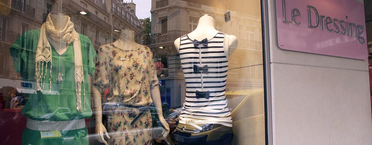 Store front at Le Dressing de Brigiett in Paris. Photo by alphacityguides.