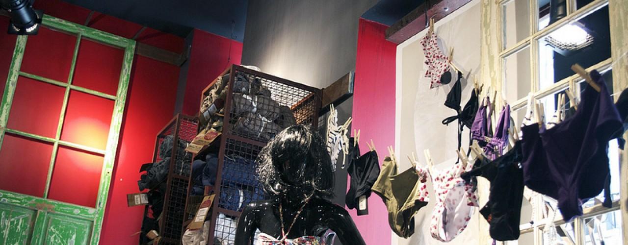 Fashion display inside Le temps des Cerises in Paris. Photo by alphacityguides.