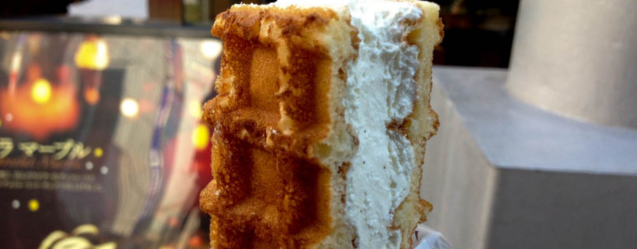 Waffle with cream at Manneken in Tokyo. Photo by alphacityguides.