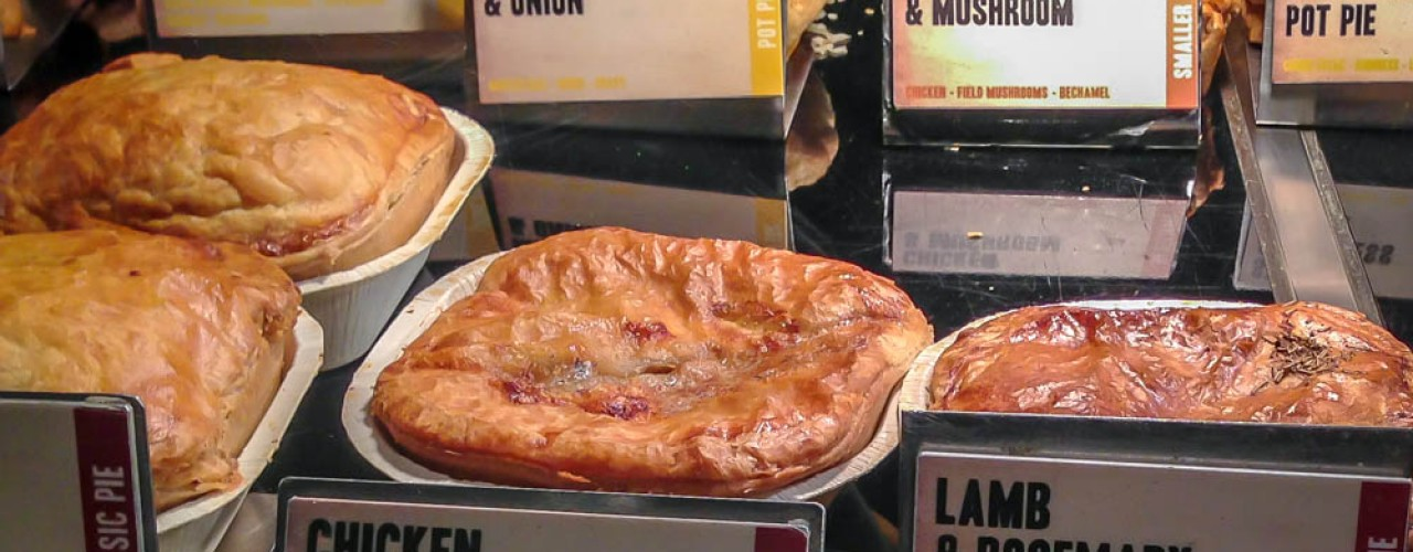 Square Pie display case at Square Pie in Spitalfields market in London. Photo by alphacityguides.