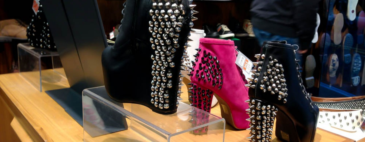 Jeffrey Campbell Lita Spike Boots in Black and Pink at Sole in London. Photo by alphacityguides.