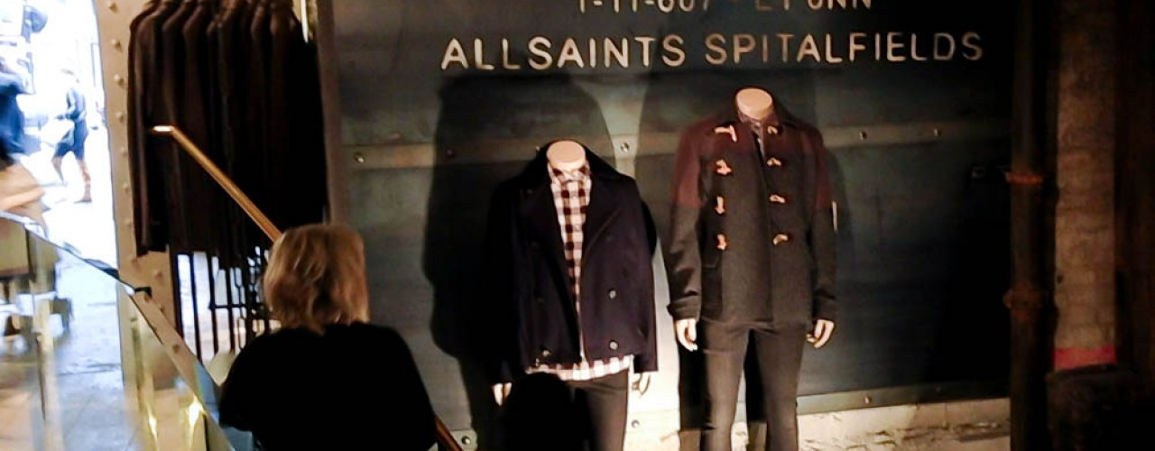 Men's fashion at AllSaints in London. Photo by alphacityguides.