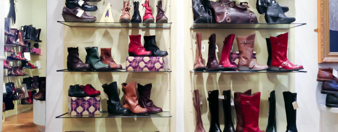 Boots and shoes at Fly London in Covent Garden. Photo by alphacityguides.