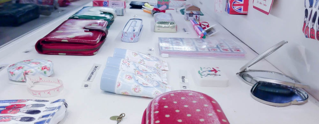 Colorful accessories at Cath Kidston in London. Photo by alphacityguides.