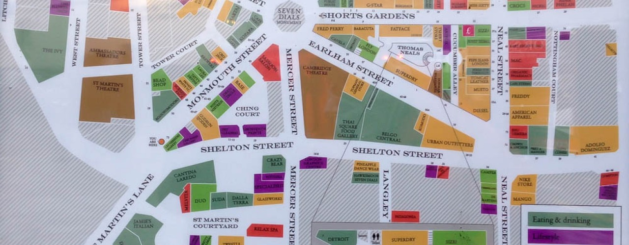 Covent Garden, London Area Map. Photo by alphacityguides.