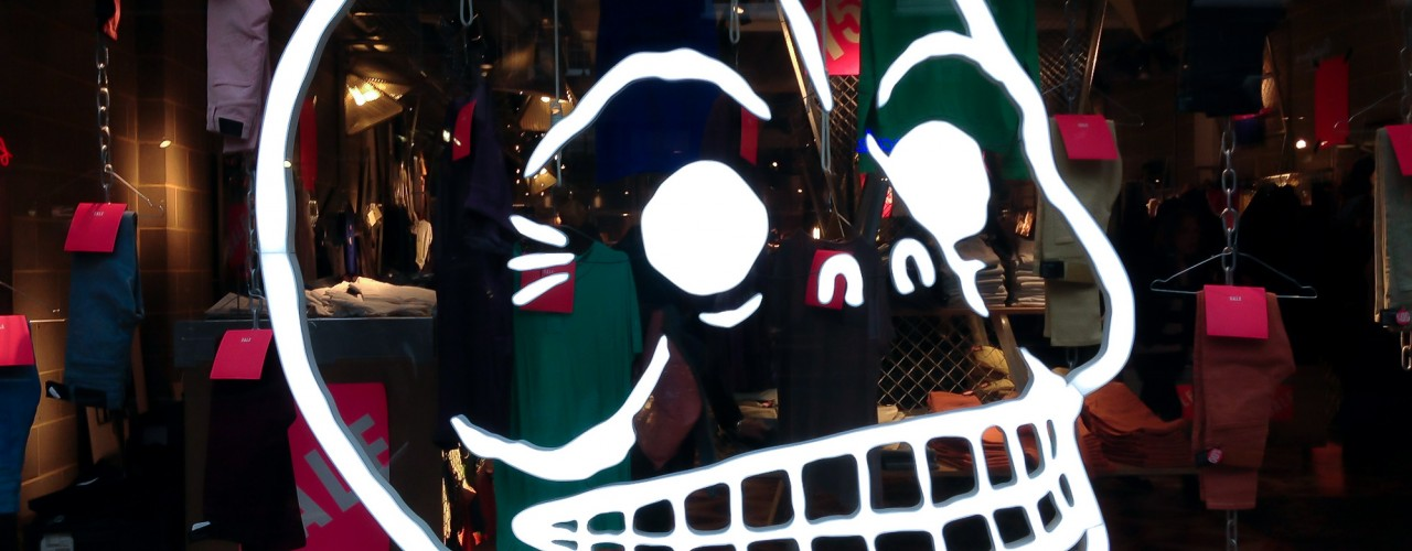 Cheap Monday window in London. Photo by alphacityguides.