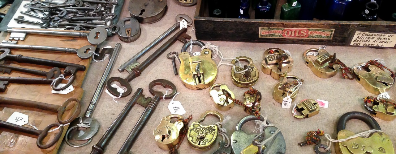 Vintage keys and locks at Chloe Alberry in London. Photo by alphacityguides.