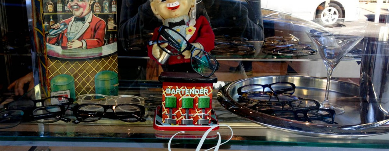 Window display at Silver Lining Opticians in New York. Photo by alphacityguides.