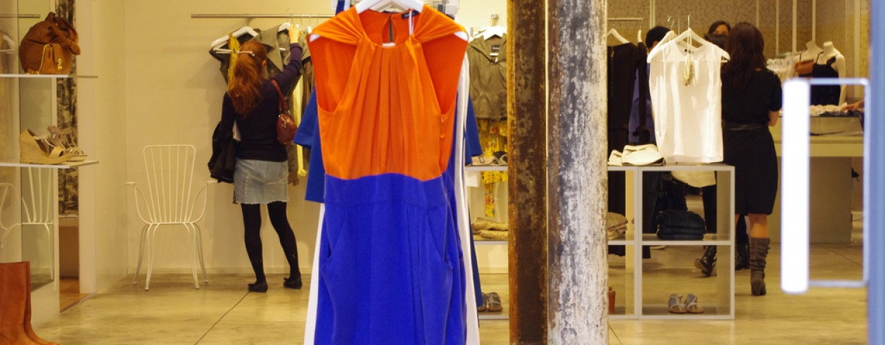 Dress at Agnes B in Paris. Photo by alphacityguides.