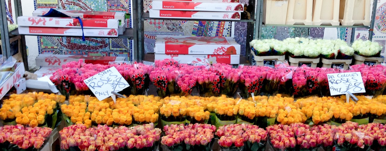 Roses at the Columbia Road Flower Market in London. Photo by alphacityguides.