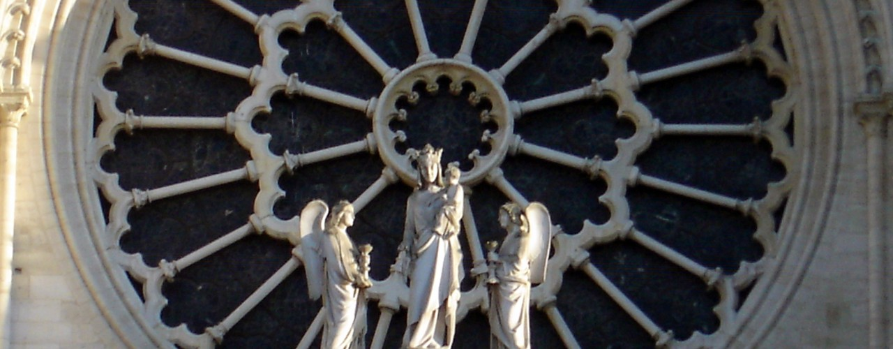 Close up at Notre Dame Cathedral in Paris. Photo by alphacityguides.