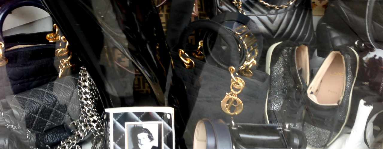 Designer vintage accessories at One Of A Kind in London. Photo by alphacityguides.