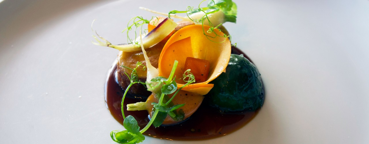 "Four Story Hill Farm's ""Cuisse De Poularde"" at Per Se in New York. Photo by alphacityguides."