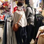 Mens and womens fashion display at Spinns Harajuku in Tokyo.
