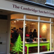 Store front at The Cambridge Satchel Company in Covent Garden London. Photo by alphacityguides.