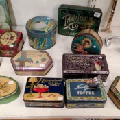 Vintage tins at Chole Alberry in London. Photo by alphacityguides.
