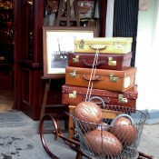 Footballs and suitcases at Henry Gregory in London. Photo by alphacityguides.